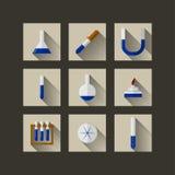 Iconos planos para la química Imágenes de archivo libres de regalías