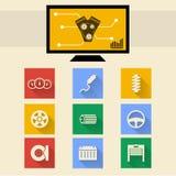 Iconos planos para la reparación auto Fotos de archivo