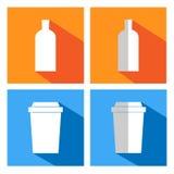 Iconos planos para las tazas y las botellas de café Foto de archivo