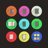 Iconos planos para los cuadernos Foto de archivo libre de regalías