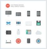Iconos planos perfectos de los dispositivos electrónicos del pixel Imagenes de archivo