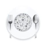 Iconos planos placa, ejemplo del vector del concepto de las comidas Imágenes de archivo libres de regalías