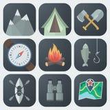 Iconos planos que acampan fijados Fotos de archivo libres de regalías