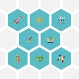 Iconos planos que financian, ayuda, Rocket And Other Vector Elements El sistema de símbolos planos de los iconos de la idea tambi stock de ilustración