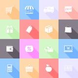 Iconos planos que hacen compras Foto de archivo libre de regalías