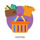 Iconos planos que hacen compras de Internet Imagenes de archivo