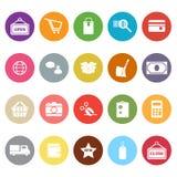 Iconos planos que hacen compras en el fondo blanco Imagenes de archivo