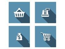 Iconos planos que hacen compras fijados Fotos de archivo libres de regalías