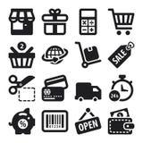 Iconos planos que hacen compras. Negro Imagenes de archivo