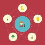 Iconos planos rastrillo, cultivador, Pruner y otros elementos del vector El sistema de símbolos planos de los iconos que cultivan stock de ilustración