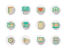 Iconos planos redondos del color del equipo de la cardiología Fotos de archivo libres de regalías