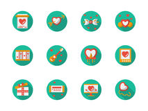 Iconos planos redondos del cortejo del amor del color libre illustration