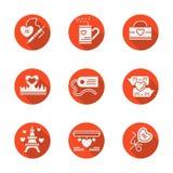 Iconos planos redondos rojos del amor fijados Fotografía de archivo libre de regalías