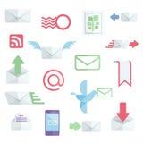 Iconos planos relacionados del correo Imágenes de archivo libres de regalías