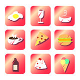 Iconos planos rojos de la comida Fotos de archivo libres de regalías