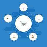 Iconos planos sierra para metales, rastrillo, cultivador y otros elementos del vector El sistema de símbolos planos de los iconos libre illustration