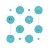 Iconos planos sierra para metales, rastrillo, herramientas y otros elementos del vector El sistema de símbolos planos de los icon libre illustration