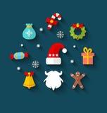 Iconos planos simples coloridos del Año Nuevo Fotos de archivo