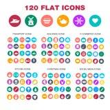 120 iconos planos Transporte, edificios, comercio electrónico, cocina Fotografía de archivo libre de regalías