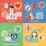 Iconos planos 2x2 de la cardiología fijados Foto de archivo libre de regalías