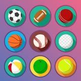 Iconos planos y redondos del deporte stock de ilustración