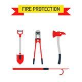Iconos planos y símbolos de la seguridad contra incendios determinada del bombero del vector Imagen de archivo libre de regalías
