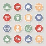 Iconos políticos redondos de la campaña electoral de fijados Foto de archivo libre de regalías