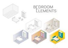 Iconos polivinílicos bajos isométricos de los muebles del dormitorio Bosquejo interior del dormitorio del vector ilustración del vector