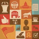 Iconos políticos retros de la campaña electoral de fijados Imagen de archivo libre de regalías