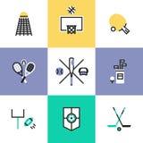 Iconos populares del pictograma de los deportes fijados ilustración del vector