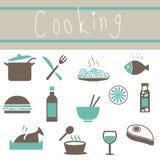 Iconos preciosos del Cookware fijados Foto de archivo libre de regalías