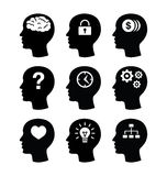 Iconos principales del vecotr del cerebro fijados Fotografía de archivo