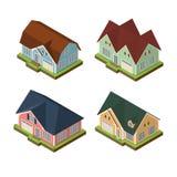 Iconos privados isométricos de la casa 3d fijados Imagen de archivo