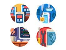 Iconos programados de la aplicación móvil fijados libre illustration
