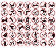 Iconos prohibidos Fotografía de archivo