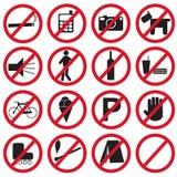 Iconos prohibidos fijados Foto de archivo