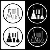 Iconos químicos de los tubos de prueba del vector Imagen de archivo libre de regalías