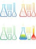 Iconos químicos de los tubos de prueba del vector Imágenes de archivo libres de regalías