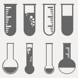 Iconos químicos del pictograma de los tubos de ensayo fijados stock de ilustración