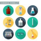 Iconos químicos Diseño plano con las sombras Laboratorio químico Fotos de archivo libres de regalías