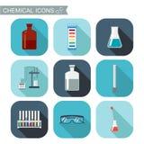 Iconos químicos Diseño plano con las sombras Laboratorio químico, cristalería química Imagen de archivo