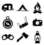Iconos que acampan Imagen de archivo libre de regalías