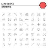 Iconos que acampan del movimiento del esquema ilustración del vector