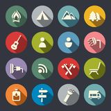 Iconos que acampan fijados. Fotos de archivo libres de regalías
