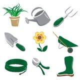 Iconos que cultivan un huerto aplicados con brocha Fotos de archivo libres de regalías