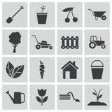 Iconos que cultivan un huerto del negro del vector Stock de ilustración