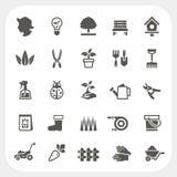 Iconos que cultivan un huerto fijados Fotos de archivo libres de regalías