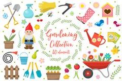 Iconos que cultivan un huerto fijados, elementos del diseño Utensilios de jardinería y colección de la decoración, aislada en un  Fotografía de archivo