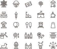 Iconos que describen el parque de atracciones Fotografía de archivo libre de regalías