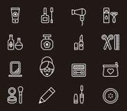 Iconos que describen los cosméticos y belleza Imagen de archivo libre de regalías